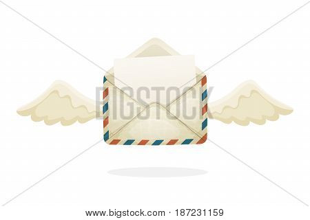 Vector illustration in cartoon style. Flying opened vintage mail envelope from old paper with wings. Incoming message has been read. Decoration for greeting cards, prints for clothes, posters