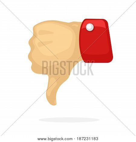 Vector illustration in cartoon style. Thumb down symbol of dislike. Decoration for greeting cards, prints for clothes, posters