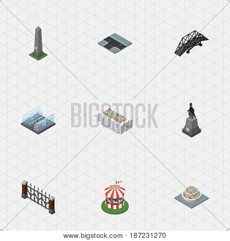 Isometric Architecture Set Of Plants, Flower Decoration, Carousel And Other Vector Objects. Also Includes Flower, Carousel, Highway Elements.
