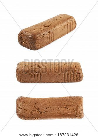Cookie dough briquette isolated over the white background, set of three different foreshortenings