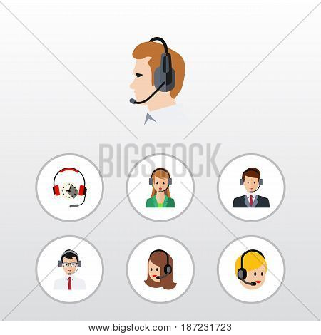 Flat Hotline Set Of Service, Secretary, Call Center And Other Vector Objects. Also Includes Headset, Secretary, Hotline Elements.