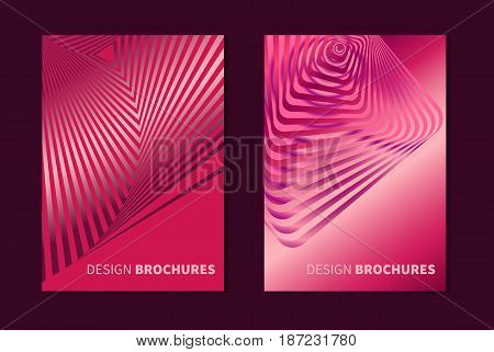Set striped pink opt art. Geometric optical illusion with stripes. Abstract background, card. Vector illustration.