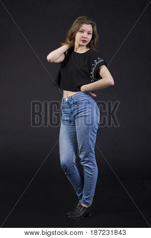 Young Girl Posing In Studio.