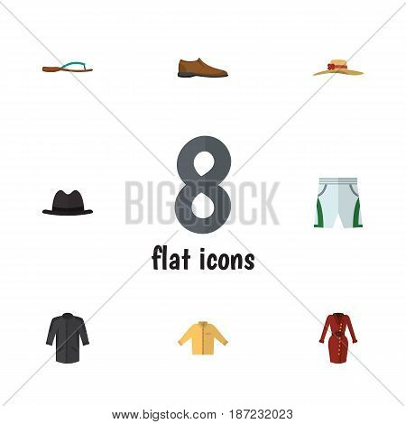 Flat Garment Set Of Male Footware, Banyan, Trunks Cloth And Other Vector Objects. Also Includes Kimono, Trunks, Woman Elements.