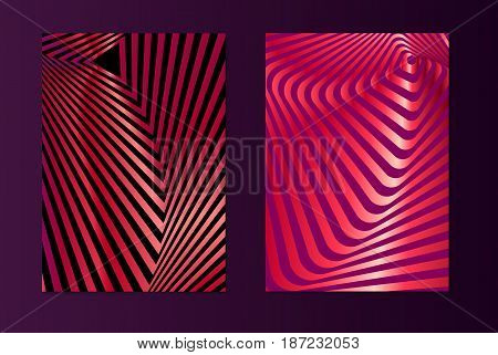 Striped pink opt art. Geometric optical illusion with stripes. Abstract background, card. Vector illustration.