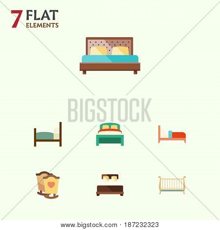 Flat Mattress Set Of Furniture, Mattress, Bed And Other Vector Objects. Also Includes Bedding, Crib, Bed Elements.