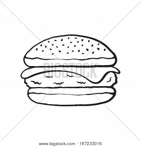 Vector illustration. Hand drawn doodle of cheeseburger. Cartoon sketch. Unhealthy food. Decoration for menus, signboards, showcases, greeting cards, posters, wallpapers