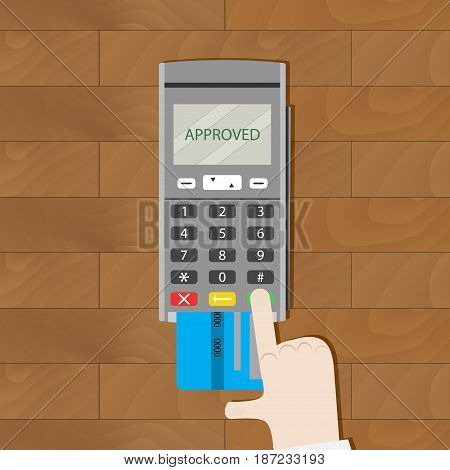 Payment by card approved. Payment credit card card reader for paying by card online transaction vector illustration