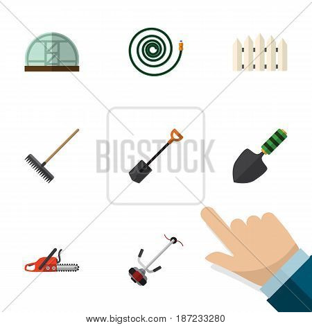 Flat Garden Set Of Spade, Wooden Barrier, Hacksaw And Other Vector Objects. Also Includes Spatula, Hosepipe, Hothouse Elements.
