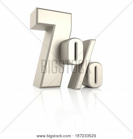 7 percent isolated on white background. 3d render