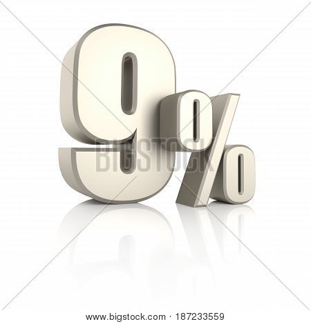 9 percent isolated on white background. 3d render