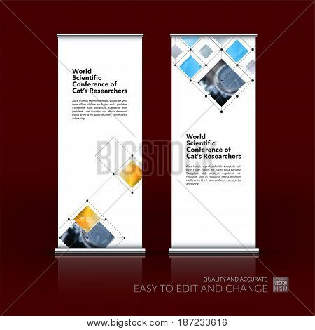 Abstract business vector set of modern roll Up Banner stand design template with colourful rectangular shapes, grid for tech, market, exhibition, show, expo, presentation, parade, events.