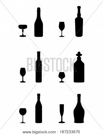 Black silhouettes of glasses and bottles on a white background