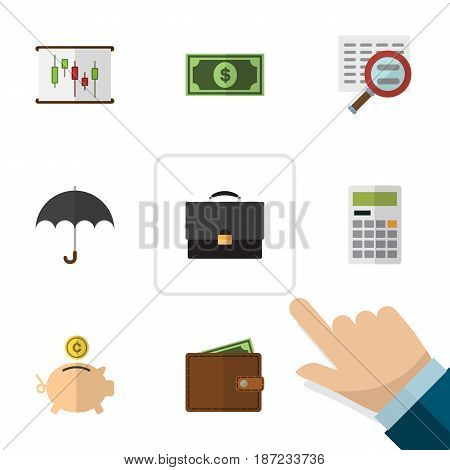 Flat Exchequer Set Of Diagram, Calculate, Parasol And Other Vector Objects. Also Includes Diplomat, Bank, Wallet Elements.
