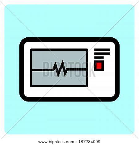 a Simple flat color electrocardiogram icon vector