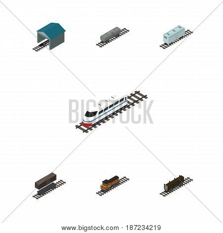 Isometric Railway Set Of Underground, Railroad Carriage, Train And Other Vector Objects. Also Includes Underground, Oil, Lumber Elements.