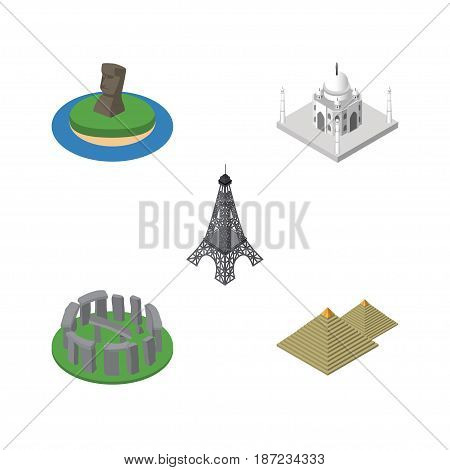Isometric Attraction Set Of India Mosque, England, Egypt Vector Objects. Also Includes Chile, Taj, Monument Elements.