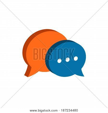 Chat Symbol. Flat Isometric Icon Or Logo. 3D Style Pictogram For Web Design, Ui, Mobile App, Infogra