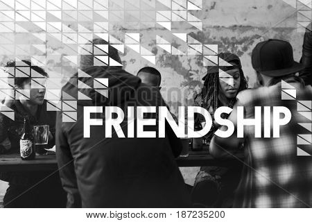 Friends Hangout Celebrate Together Word Graphic