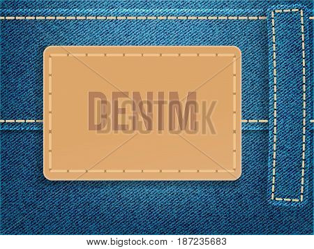 Leather label on blue denim fabric. Vector illustration template