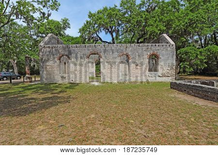 Tabby wall ruins and graveyard of the Chapel of Ease from Saint Helenas Episcopal Church on Saint Helena Island in Beaufort County South Carolina