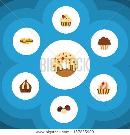 Flat Cake Set Of Confectionery, Sweetmeat, Muffin And Other Vector Objects. Also Includes Cookie, Biscuit, Patisserie Elements.