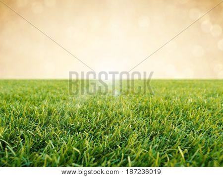 green grass or turf on gold background