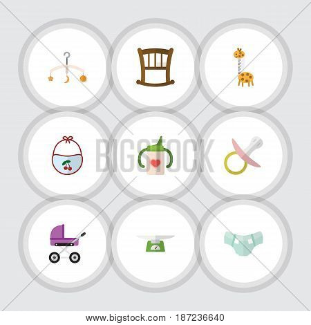 Flat Infant Set Of Infant Cot, Toy, Pinafore And Other Vector Objects. Also Includes Stroller, Pinny, Soothers Elements.