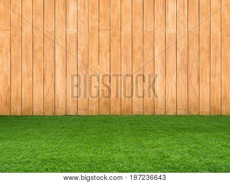 Green Grass On Wooden Background