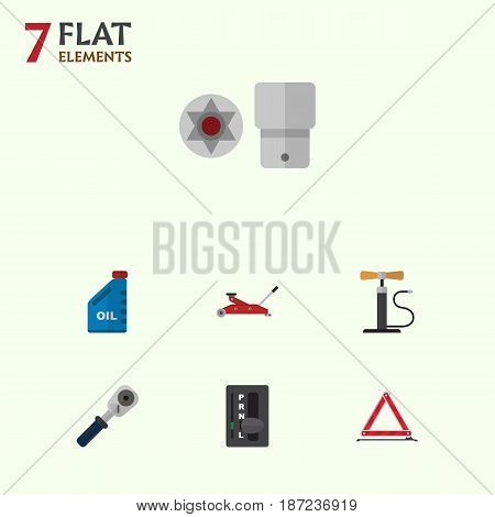 Flat Auto Set Of Ratchet, Petrol, Wheel Pump And Other Vector Objects. Also Includes Pump, Screwdriver, Emergency Elements.