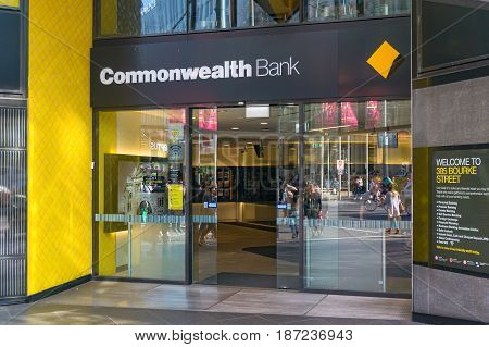 Commonwealth Bank Branch Entrance In Melbourne Cbd