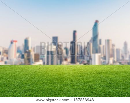 Green Grass With Cityscape Background