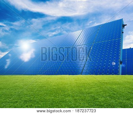 3d rendering solar panels or solar cells on green grass
