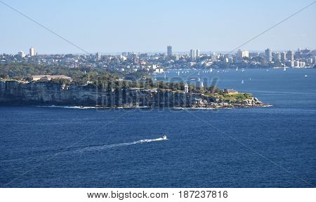 Sydney Harbour and South Head view from North Head (Sydney NSW Australia).