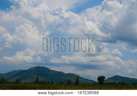 Clear blue sky and white clouds. Can be use for natural background.
