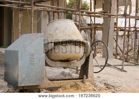 The concrete mixer at the construction site