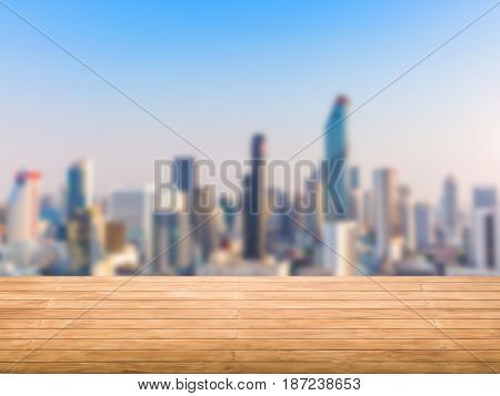 roof top balcony with cityscape and blue sky background