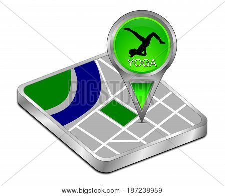 green Map pointer with Yoga - 3D illustration