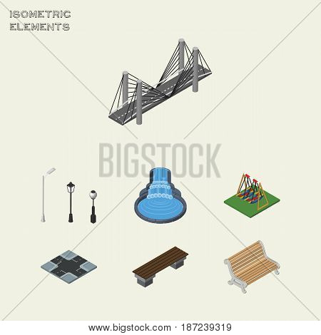 Isometric Street Set Of Street Lanterns, Seat, Garden Decor And Other Vector Objects. Also Includes Swing, Waterfall, Intersection Elements.