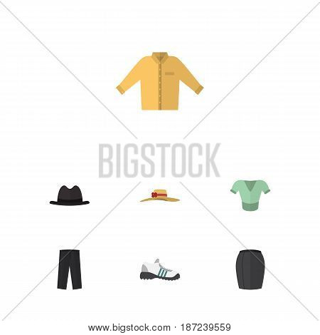 Flat Dress Set Of Pants, Banyan, Stylish Apparel And Other Vector Objects. Also Includes Hat, Pants, Leggings Elements.
