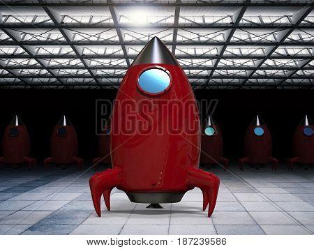 3d rendering red space shuttle in hangar