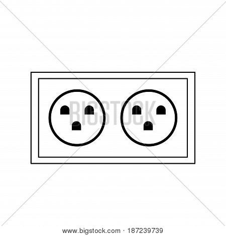 electric double socket energy power line vector illustration