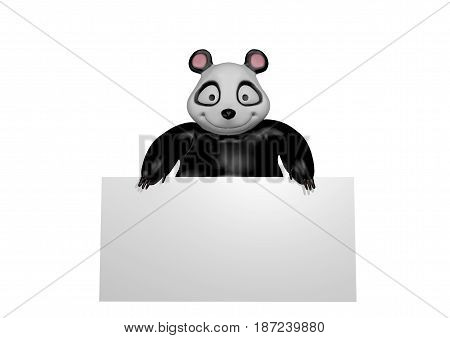 Panda bear isolated on white background holding poster, 3D rendering