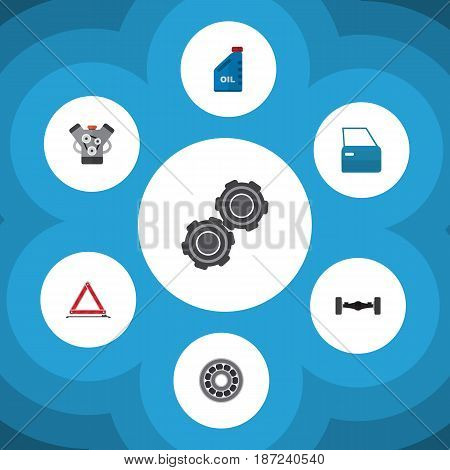 Flat Workshop Set Of Automobile Part, Belt, Brake Disk And Other Vector Objects. Also Includes Car, Stop, Pulley Elements.