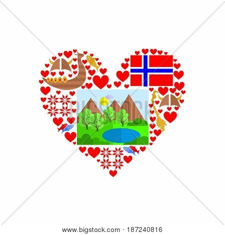 set in the style of a flat design on the theme of norway.