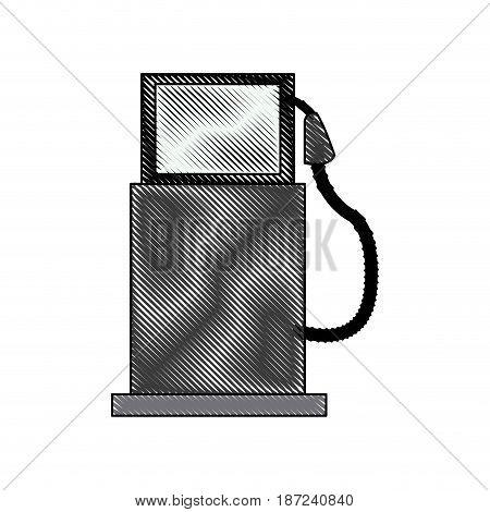 drawing gasoline pump station full ecological image vector illustration