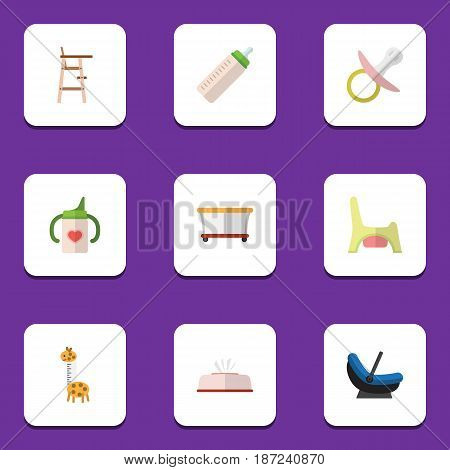 Flat Kid Set Of Feeder, Tissue, Pram And Other Vector Objects. Also Includes Cradle, Pram, Stool Elements.
