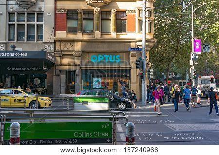 Melbourne Australia - April 4 2017: Collins Street tram station and pedestrian crossing in Melbourne CBD