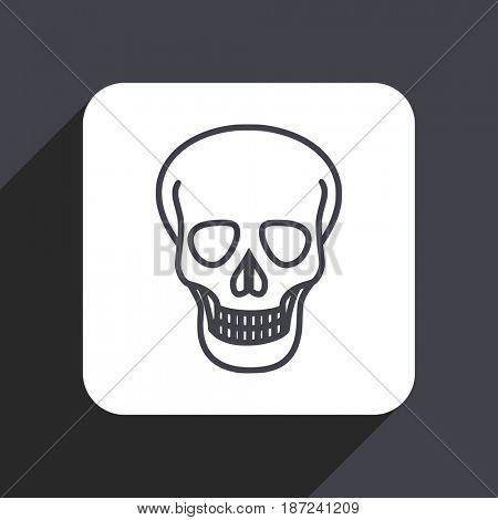 Skull flat design web icon isolated on gray background