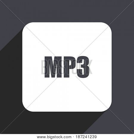 Mp3 flat design web icon isolated on gray background
